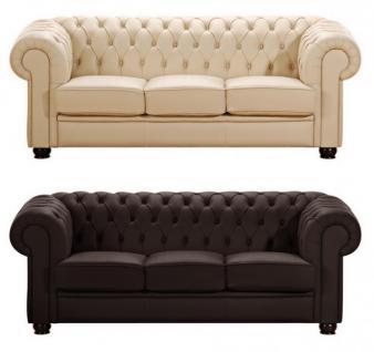 Sofa Couch 3-sitzig braun beige in Leder oder Kunstleder Knopfheftung klassisch