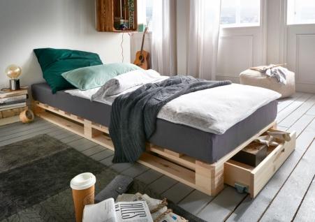Palettenbett Bett 90x200 mit Schubkasten Kiefer Weiß