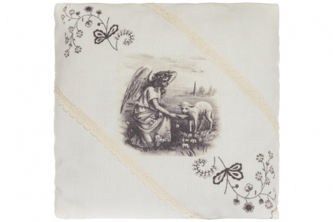 Kissen Farmer's Girl Quadratisch Baumwolle&Polyester Weiß