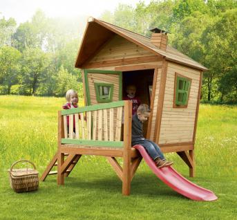 Spielhaus mit Rutsche Veranda Überdacht Holzspielhaus Hütte Hexenhäuschen Holz - Vorschau 2