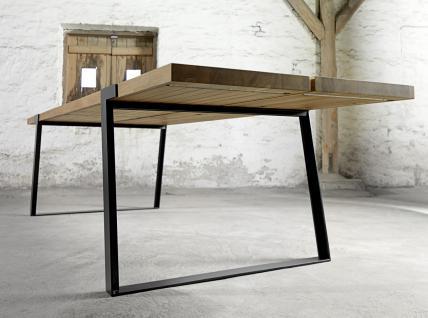 Tisch Esstisch Esszimmertisch Eiche Wildeiche massiv natur geölt Eisen schwarz - Vorschau 3