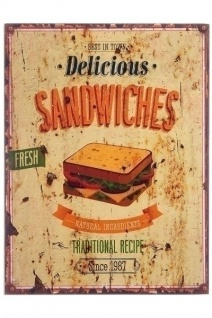 Holzschild Sandwiches MDF Mehrfarbig