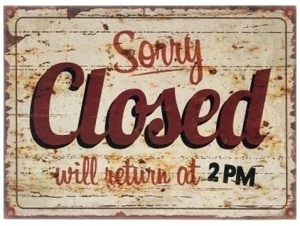 Holzschild Closed MDF Mehrfarbig