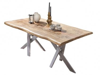 TABLES&Co Tisch 220x100 Mangoholz Natur Metall Silber