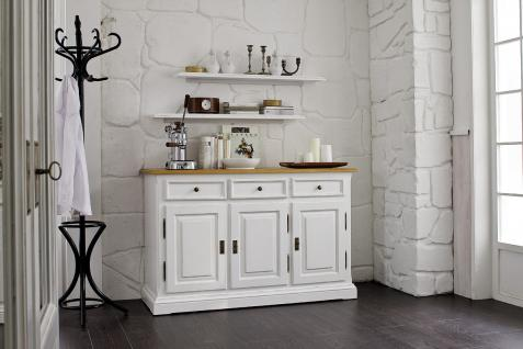 Sideboard Anrichte mit 2 Regalen Wohnzimmer Fichte Antik weiß massiv shabby