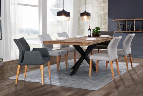 Tisch 200x100 Mango Natur Doppel X-Fuß Schwarz