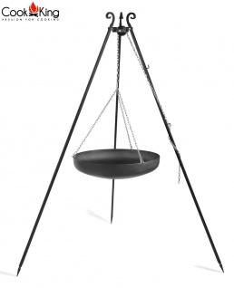 Schwenkgrill mit Wok am Dreibein 180 cm Rohstahl Durchmesser 60 cm