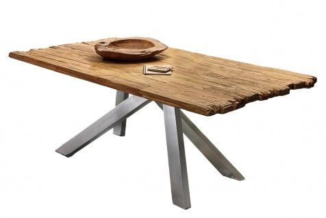 TABLES&Co Tisch 240x100 Teak Natur Metall Silber