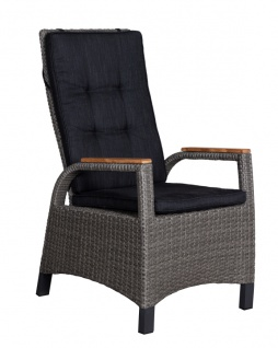 Relaxsessel Sessel Metall Polyethylen und Holz Grau