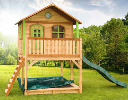 Spielhaus hoch Spielhütte Holzspielhaus für Kinder mit Sandkasten Abdeckung - Vorschau 1