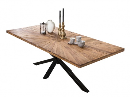 TABLES&Co Tisch 180x100 Teak Natur Metallgestell Schwarz