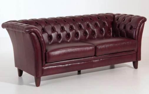 Sofa Couch 2, 5-sitzig Leder Wischleder rot Chesterfield England Knopfheftung - Vorschau 2