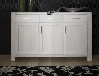 Sideboard Anrichte Wohnzimmer Kommode Eiche massiv geölt satin weiß - Vorschau 1