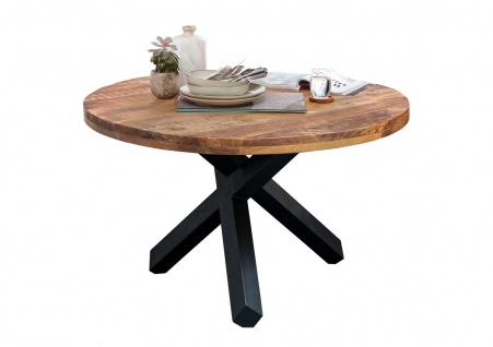 Tisch Rund Ø110 Mango Natur Metallfuß Schwarz