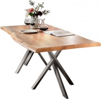 TISCHE&BÄNKE Tisch 180x90 Akazie Stahl Natur Antiksilber
