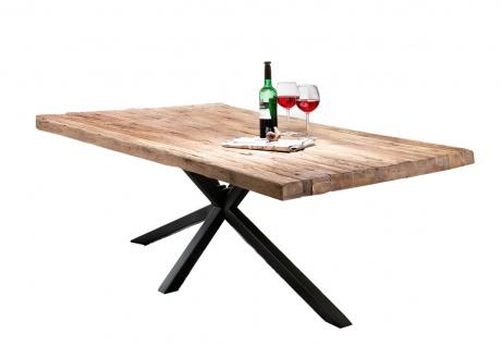 TABLES&Co Tisch 220x100 Teak Natur Metall Schwarz
