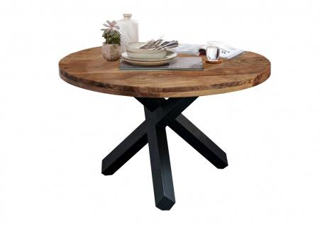 Tisch Rund Ø110 Sheesham Natur Metallfuß Schwarz