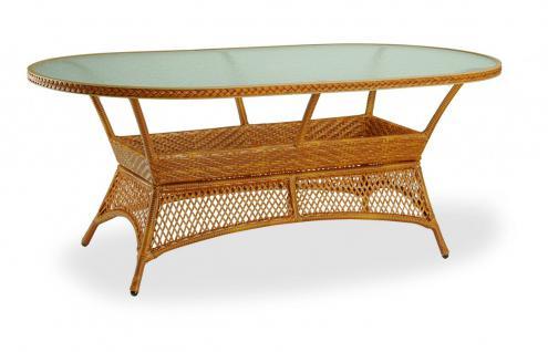 Gartentisch Tisch oval Glasplatte Geflecht Kunstfasergeflecht Karamell weiß