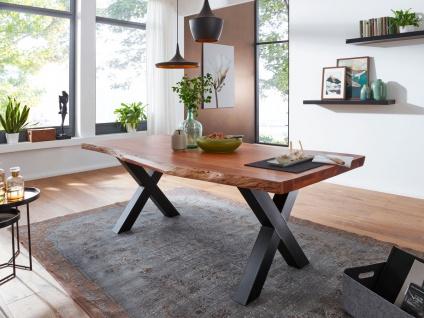 Tisch 160x90 Akazie Natur Baumkante X-Fuß Schwarz