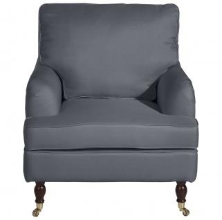 Passion Sessel Flachgewebe Denim Blue Buche Nussbaumfarben