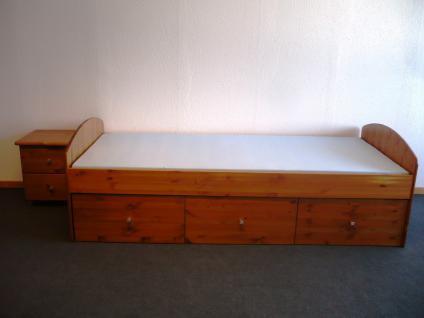 Bett mit Nachtkommode Set Einzelbett Schubladen Kiefer massiv honig lackiert - Vorschau 3