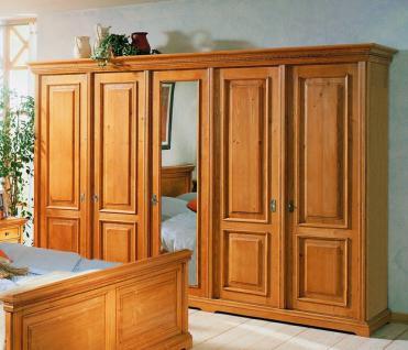 Schrank Kleiderschrank 5-türig Schlafzimmerschrank Fichte massiv antik gewachst