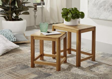 Satztisch Tisch Zweisatztisch Beistelltisch Wildeiche massiv geölt klassisch