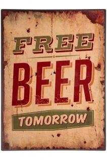 Metallschild Free Beer Mehrfarbig