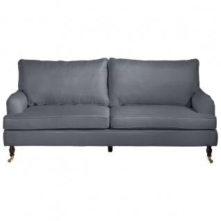Passion Sofa 3-Sitzer Flachgewebe Denim Blue Buche Nussbaumfarben