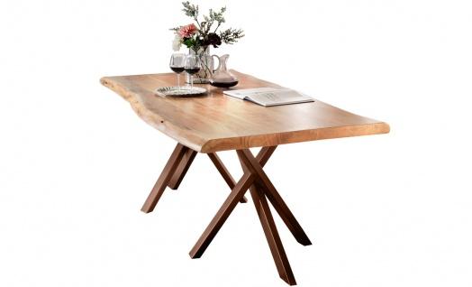 TABLES&CO Tisch 200x100 Akazie Stahl Natur Antikbraun Stahl Braun