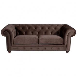 Orleans Sofa 2, 5-Sitzer Samtvelours Braun Buche Nussbaumfarben