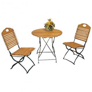 Gartengruppe Balkongruppe Gartenmöbel Set 3-tlg. Kurgarten Robinie Stahl grün
