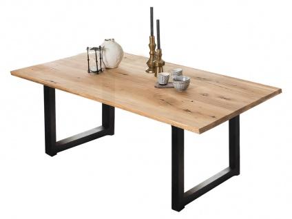 TABLES&Co Tisch 180x100 Wildeiche Natur Metallgestell Schwarz