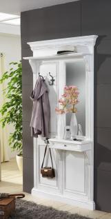Garderobenwand Garderobe Wandgarderobe Paneel Fichte massiv antikweiß vintage