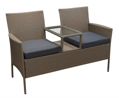 Gartenbank 2-sitzer Stahl Polyrattan Grau