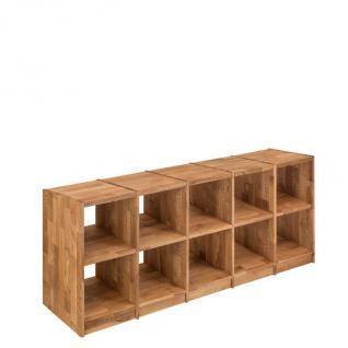 Regal Bücherregal Standregal 10 Fächer Büroregal Wildeiche massiv Aufbewahrung