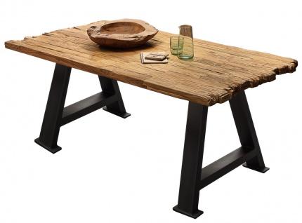 TABLES&CO Tisch 200x100 Teak Natur Metall Schwarz