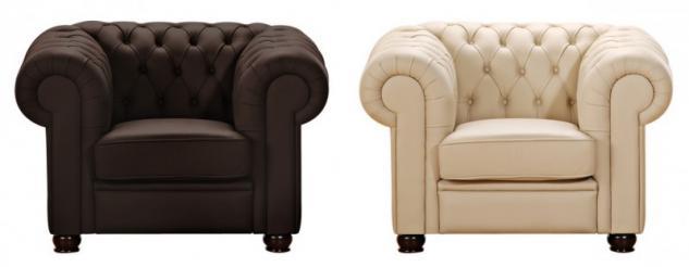 Sessel Clubsessel braun beige in Leder oder Kunstleder Knopfheftung klassisch