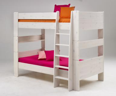 Etagenbett Hochbett 2er Etagen Bett Kiefer massiv weiß natur lackiert Massivholz - Vorschau 2