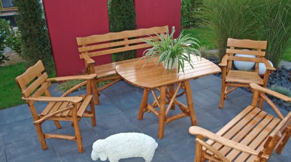 Knüppelholzgarnitur Gartenmöbel-Set Gartengruppe Gartenmöbel Garten-Set 4teilig - Vorschau 1