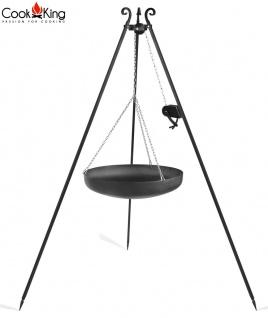 Schwenkgrill mit Wok am Dreibein 180 cm Rohstahl Durchmesser 60 cm mit Kurbel