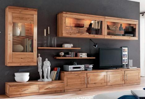 Wohnwand Wohnzimmer TV Board Wandboard Vitrinenschrank Wildeiche Massiv  Geölt