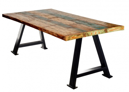 TABLES&CO Tisch 240x100 Altholz Bunt Metall Schwarz