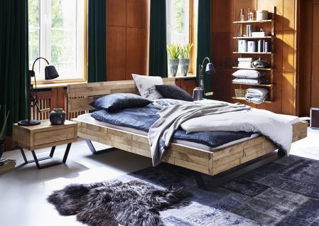Massivholzbett Holzbett Bett Doppelbett Metall Kufen Eiche massiv versch. Größen