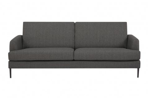 Sofa 3-Sitzer Metall Schwarz Strukturstoff Anthrazit