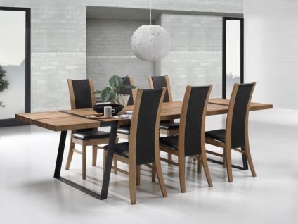 Tisch Esstisch Esszimmertisch Eiche Wildeiche massiv natur geölt Eisen schwarz - Vorschau 4