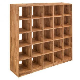 Regal Bücherregal Standregal 25 Fächer Büroregal Wildeiche massiv Aufbewahrung