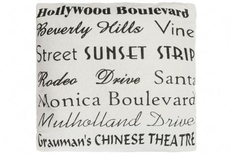 Kissen Hollywood Boulevard Baumwolle Weiß&Schwarz