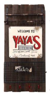Wandpaneel Woody YaYas Altholzlook massiv Küchentafel Tafel Haken Ablagekorb