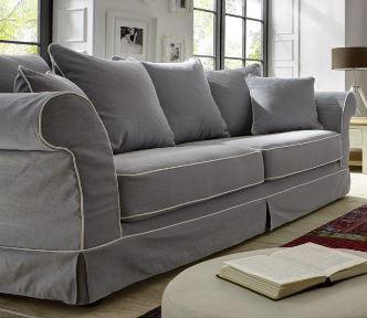 Sofa Couch 3 Sitzer Lichtgrau Mit Keder Reinigungsfähig Romantisch Lose  Kissen